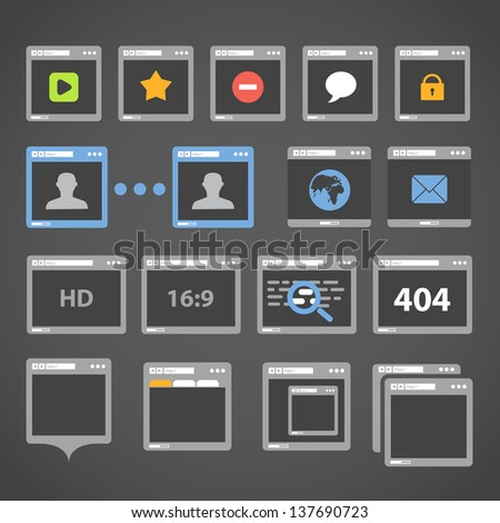 Web browser icons collection - stock vector