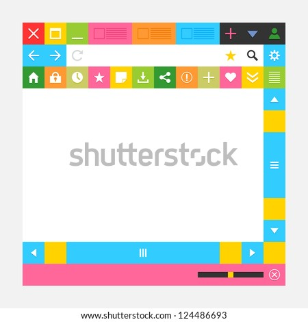 Web browser window with additional buttons. New minimal metro cute simply style. Solid plain flat tile. White, gray, black, yellow, orange, red, green colors. Vector illustration design element 8 eps - stock vector