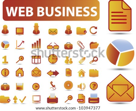 web business icons set, vector - stock vector
