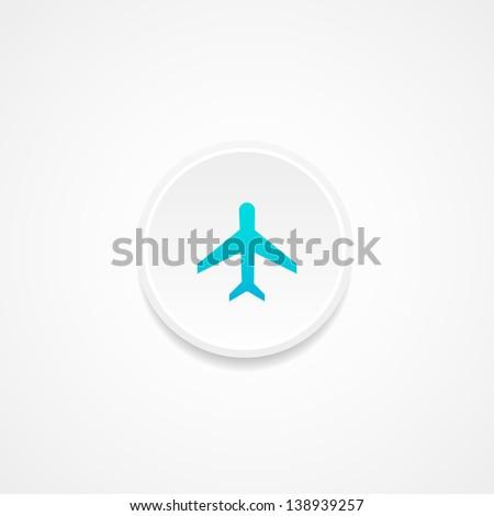 Web button. Plane.  Vector illustration. - stock vector