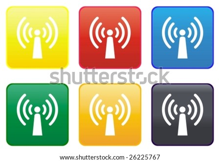 Web button - radio antenna - stock vector