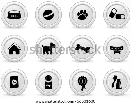 Web buttons, dog icons - stock vector