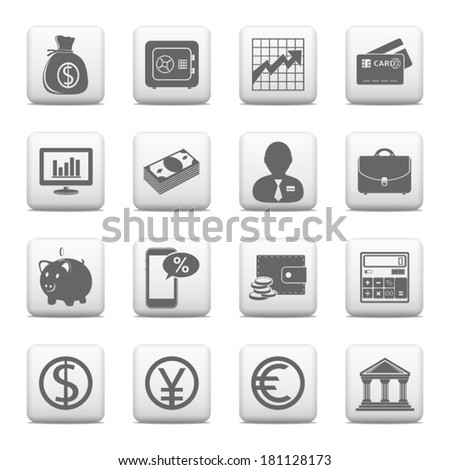 Web buttons, finance and banking icons - stock vector