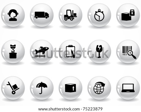 Web buttons, logistics and shipping icons - stock vector