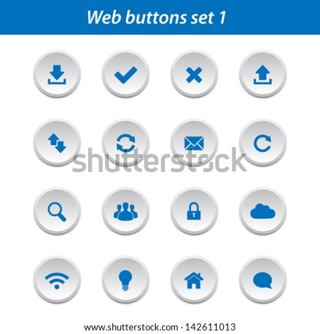 Web buttons set 1 - stock vector