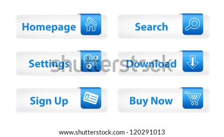Web Buttons with Blue Bookmarks and Six Icons - stock vector