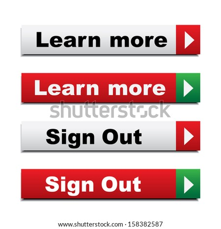 Web buttons with learn more and sign out - stock vector