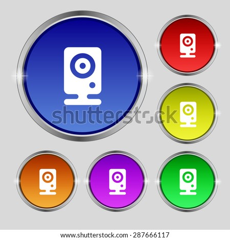 Web cam icon sign. Round symbol on bright colourful buttons. Vector illustration - stock vector