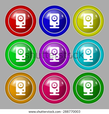 Web cam icon sign. symbol on nine round colourful buttons. Vector illustration - stock vector