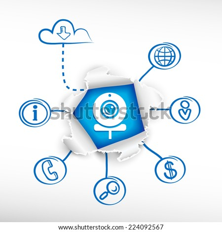 Web Camera and sketch diagrams. Doodle vector illustration. Breakthrough paper hole. - stock vector