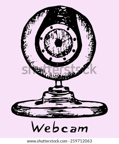 Web camera, doodle style, sketch illustration  - stock vector