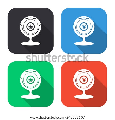 web camera icon - colored illustration (gray, blue, green, red) with long shadow - stock vector