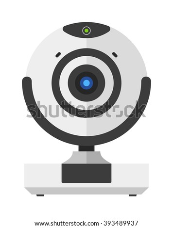 Web camera vector illustration, online camera isolated on white background. Webinar web camera vector icon illustration. Web camera isolated vector. Web camera silhouette - stock vector