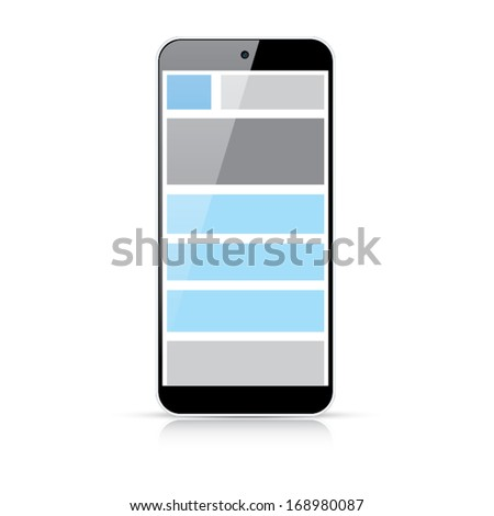 Web coding concept - responsive html and css web design in smart phone - stock vector