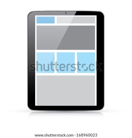 Web coding concept - responsive html and css web design in tablet - stock vector