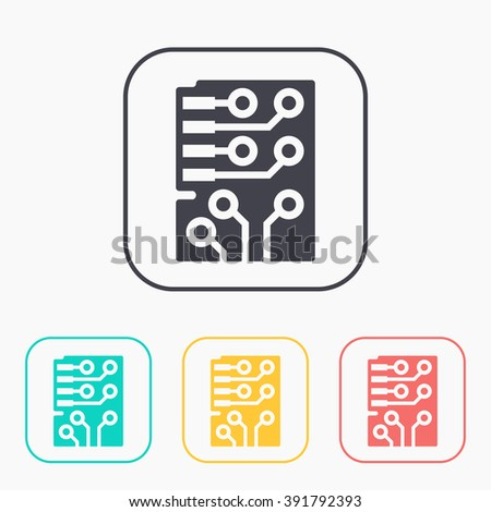 Web color icon set of microchip, vector design - stock vector