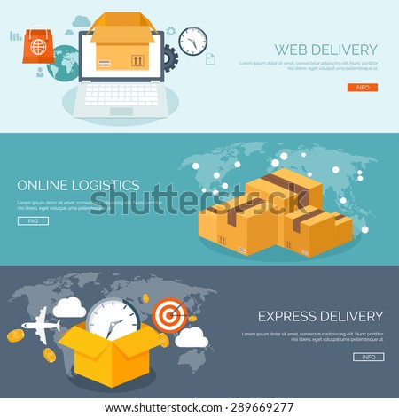 Web delivery. International postage. Express delivery. Shipping. - stock vector