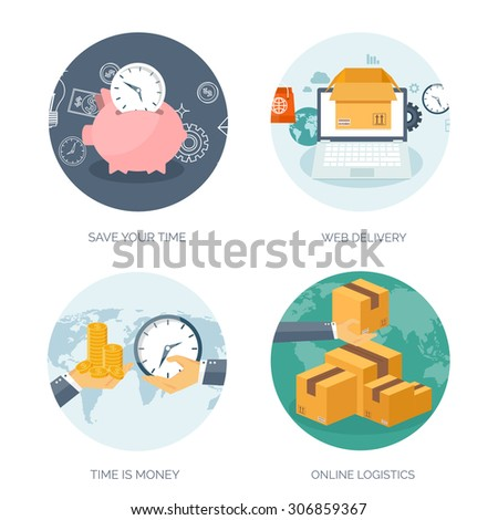 Web delivery. International postage. Express delivery. Shipping. Online logistics. Time is money. - stock vector