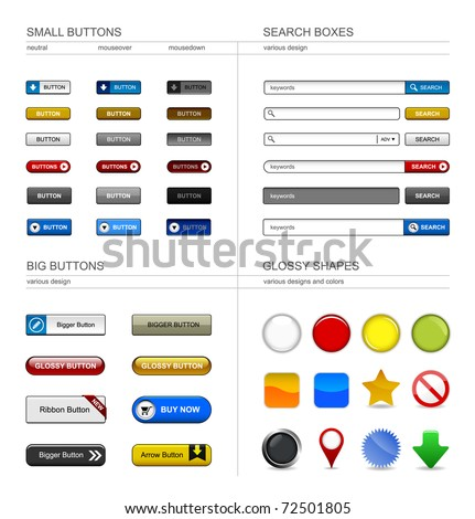 Web Design Button Element - stock vector