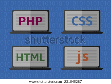 Web design, coding and programming vector icons: PHP, HTML, CSS, js. - stock vector