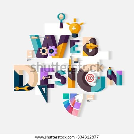 Web design concept. Flat design. - stock vector