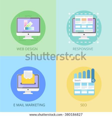 Web Design concept. Web Design. Responsive Web design. E mail marketing. Seo. Web design concept for Web Site.  Graphic Web Design. Web design process. Web design, coding, programming process.  - stock vector