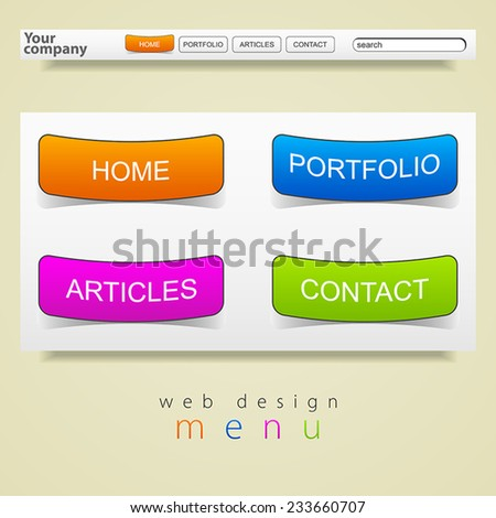 Web design graphics menu - stock vector