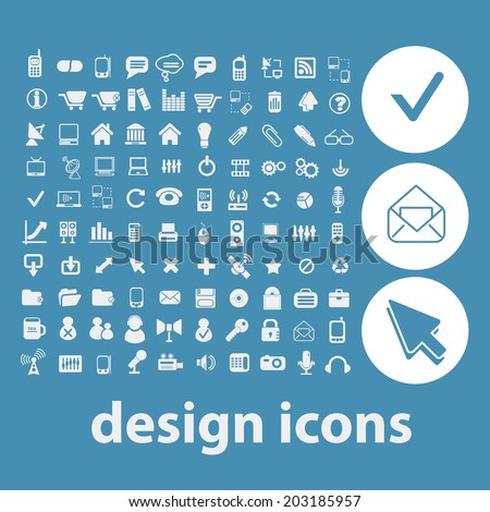 web design, internet icons, signs, symbols set, vector - stock vector