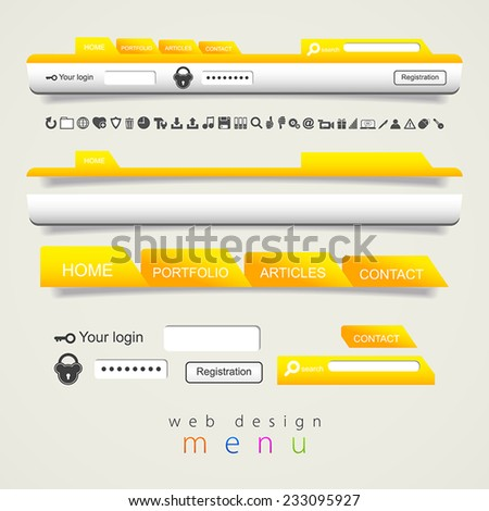 Web design navigation set with icons set - stock vector