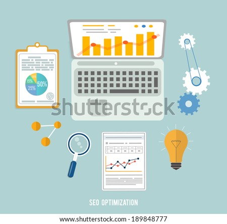 Web design objects, seo optimization, business, office and education items icons. - stock vector