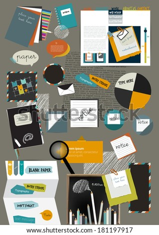 Web design portfolio elements. Collection of color stickers, speech bubbles, text message, icons, hand drawn shapes. Info graphic components for print or web. - stock vector
