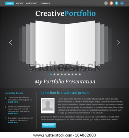 web design portfolio template - book pages view - creative layout for designers and photographers - easy editable vector - stock vector