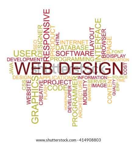 Web Design tag cloud - stock vector