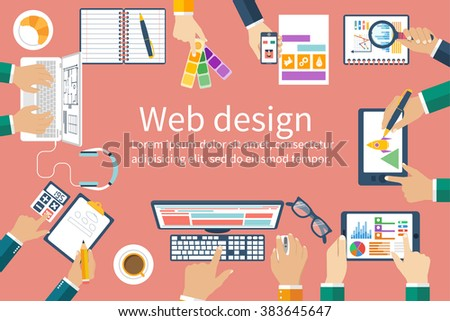 Web design team in the office workplace. Business meeting and brainstorming. Analysis, planning, consulting, project management, development. Flat design. Vector. Creative team. - stock vector