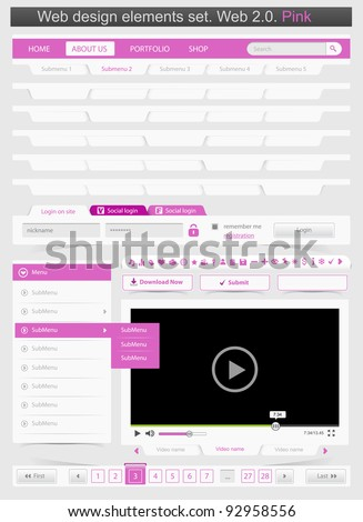 Web design template set 2.0. Vector illustration - stock vector