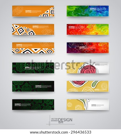 Web design templates. Set of Banners with Multicolor Backgrounds. Geometric  Abstract Modern Vector Illustration. - stock vector