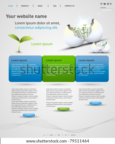 web design vector template, easy editable - stock vector