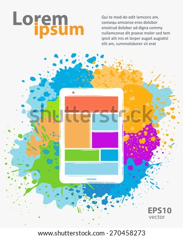Web design, website and app application development color concept abstract creative illustration - stock vector