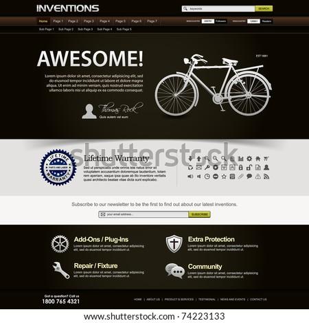 Web Design Website Elements Dark Brown Template - stock vector