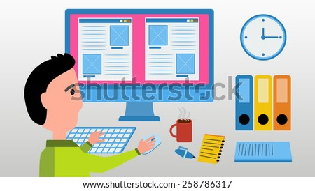 Web designer work on computer under building website. Office space concept. Vector illustration with man, monitor screen, clock, files and cup of hot coffee. - stock vector