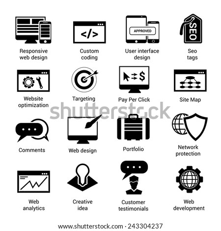 Web development black icons set with website optimization targeting pay per click site map isolated vector illustration - stock vector
