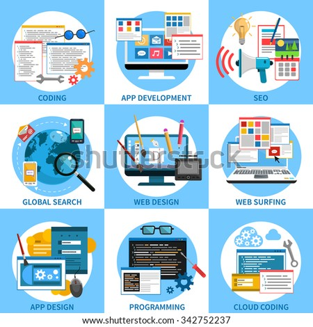 Web development concept set with seo coding and programming icons isolated vector illustration - stock vector