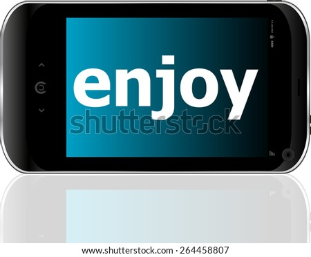 Web development concept: smartphone with word enjoy on display - stock vector