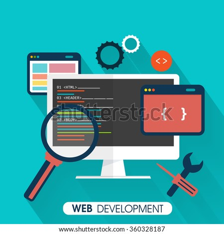 Web Development concept with digital devices on sky blue background. - stock vector