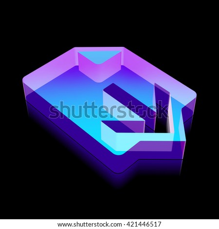 Web development icon: 3d neon glowing Download made of glass with reflection on Black background, EPS 10 vector illustration. - stock vector