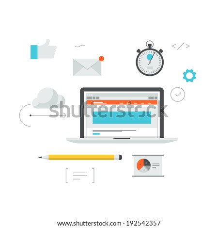 Web development success organization concept, website landing page optimization process, seo and traffic conversion management. Flat design modern vector illustration. Isolated on white background. - stock vector