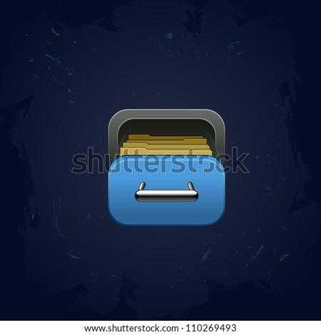 web element vector archive box square icon for app - stock vector