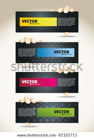 web element with hands - stock vector