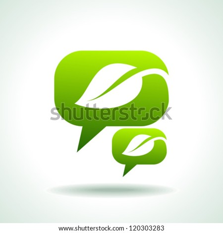 Web elements, chat bubbles with leaves, vector - stock vector