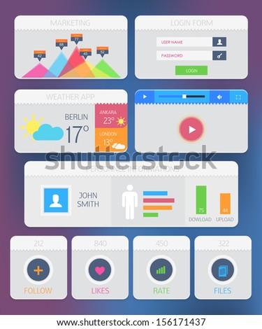 Web Elements Modern Flat Style Ui Kit - stock vector